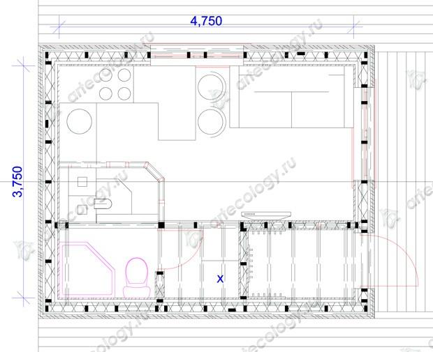 План домика � �а���ановкой мебели